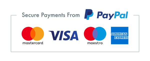 Secure payment with PayPal logo: Pay with Visa, MasterCard, Maestro and American Express