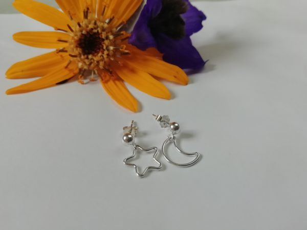 Dainty star earrings, crescent moon earrings, silver earrings lightweight, mismatched earrings - main product image