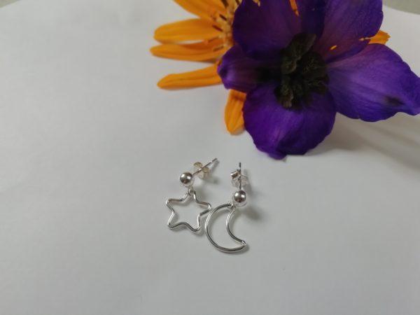 Dainty star earrings, crescent moon earrings, silver earrings lightweight, mismatched earrings - product image 3