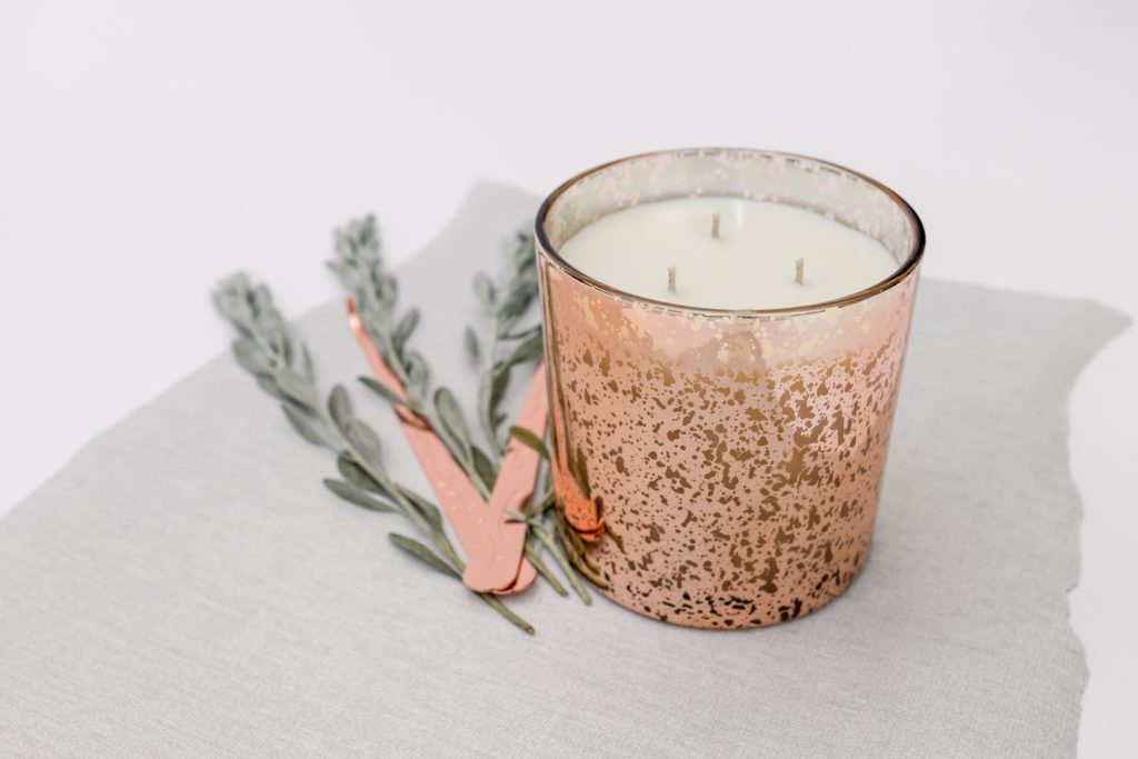 Three wick velvet peony & oud candle - main product image