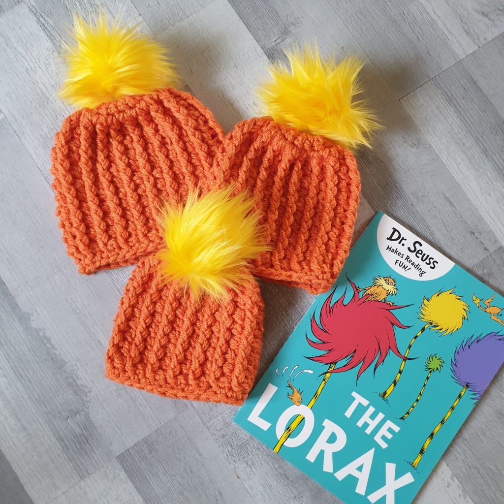 Orange winter hat with Lorax Thneed! - main product image