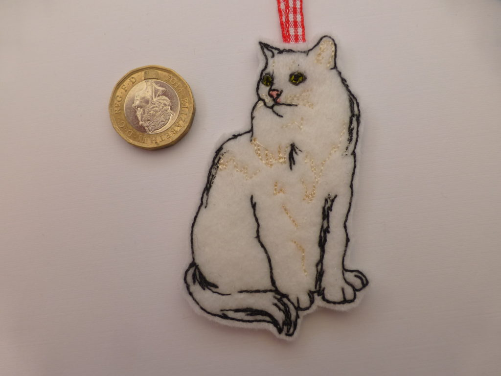 White cat embroidered Christmas tree decoration - main product image