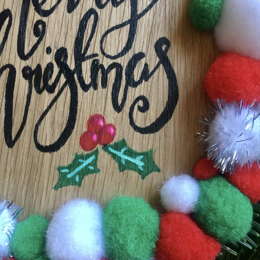 Merry Christmas Pom Pom wreath plaque - product image 4