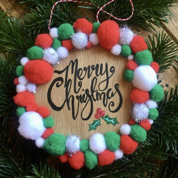 Merry Christmas Pom Pom wreath plaque - main product image