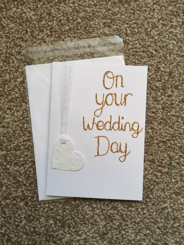 Plantable wildflower seed paper heart on your wedding day card - main product image