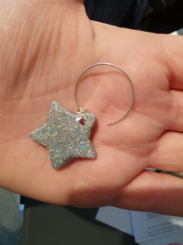 Sparkly glitter star hoop earrings - product image 2
