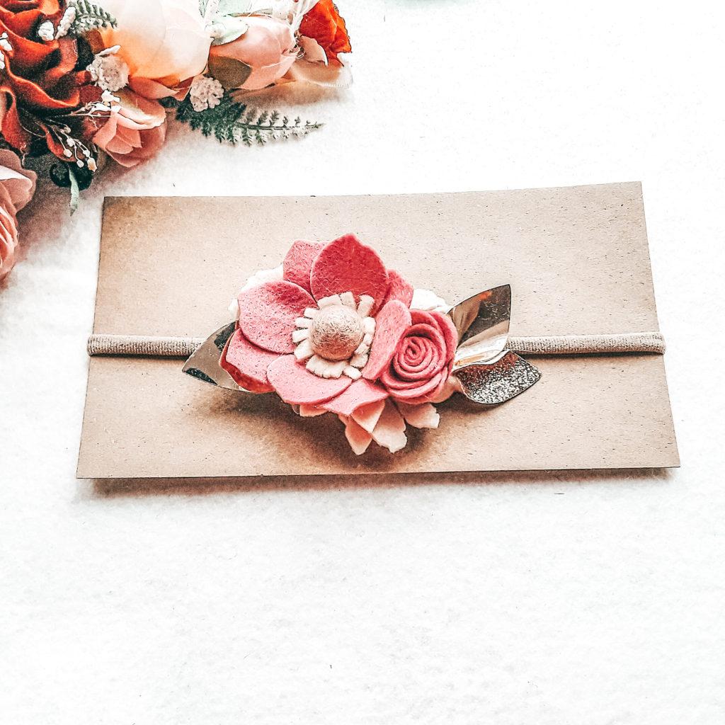 Pink in bloom wildflower felt headband - main product image