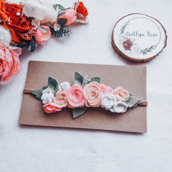 Perfectly pink rose felt flower crown headband - main product image