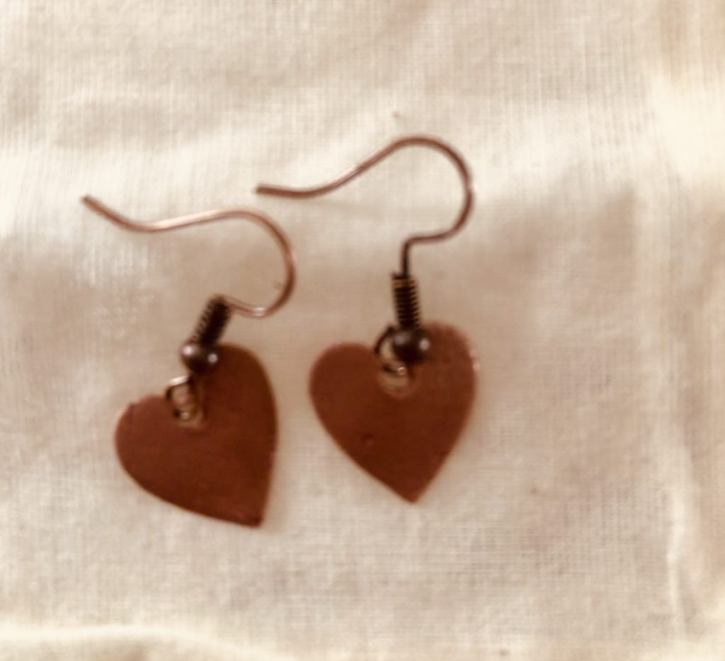 Silver or copper heart Earrings with initials - product image 3