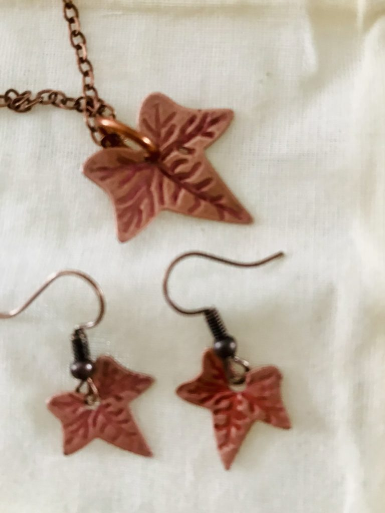 Leaf silver or copper earrings or necklace - product image 4