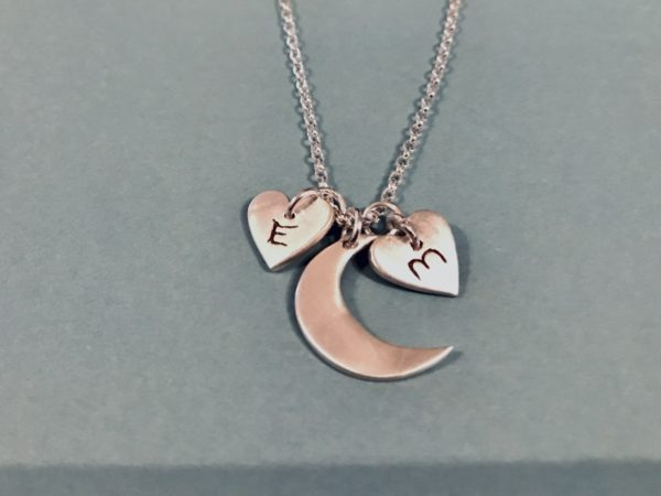Moon and letter heart silver necklace - main product image