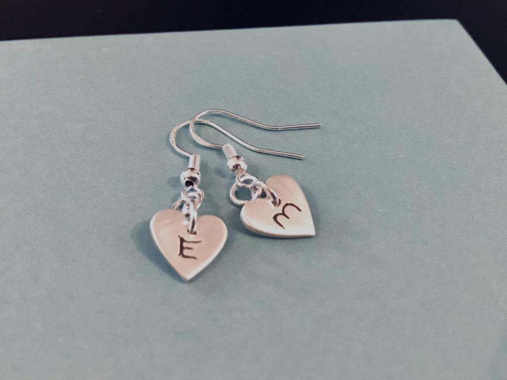 Silver or copper heart Earrings with initials - main product image