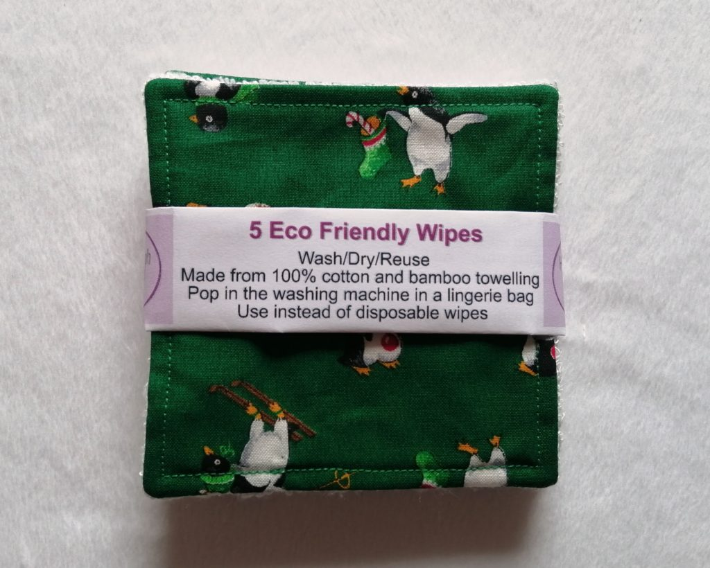 Reusable bamboo wipes, make up remover wipes, festive penguins - product image 4