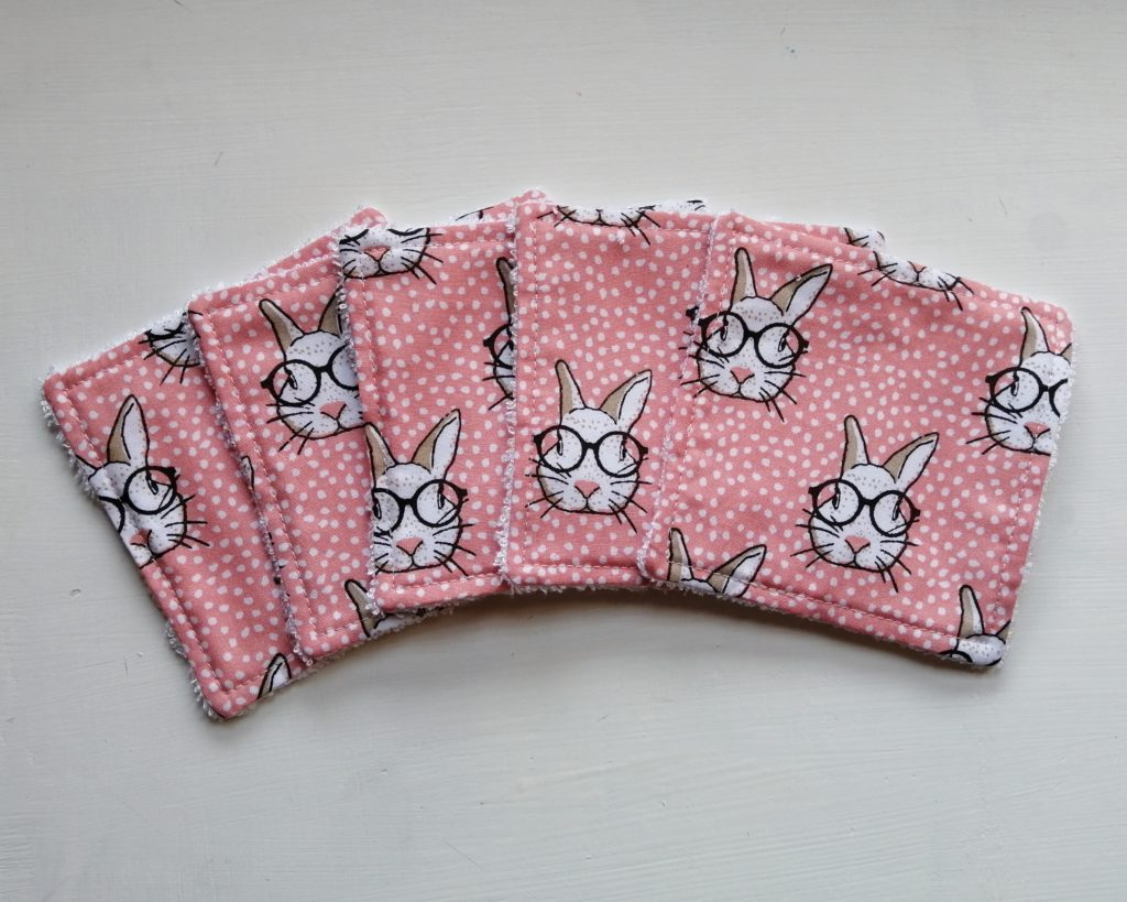 Reusable bamboo wipes, make up remover wipes, rabbit print - product image 2